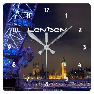 London UK  Night Landscape London Eye View Square Wall Clock