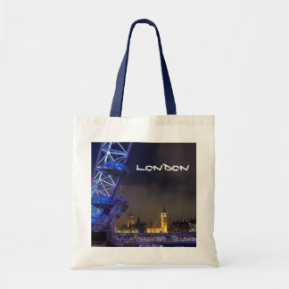 London UK  Night Landscape London Eye View Tote Bag