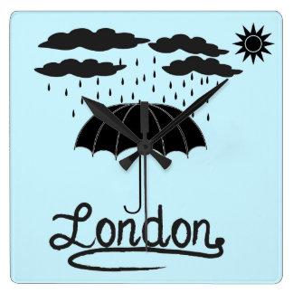London | Under An Umbrella Square Wall Clock