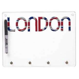 London Union Jack British Flag Typography Elegant Dry Erase Board With Keychain Holder