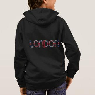 London Union Jack British Flag Typography Elegant Hoodie
