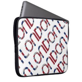 London Union Jack British Flag Typography Elegant Laptop Sleeve