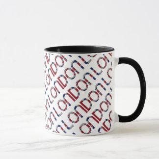 London Union Jack British Flag Typography Elegant Mug