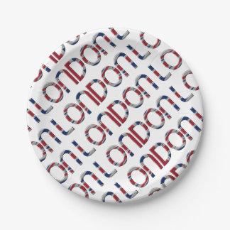 London Union Jack British Flag Typography Elegant Paper Plate
