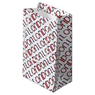 London Union Jack British Flag Typography Elegant Small Gift Bag