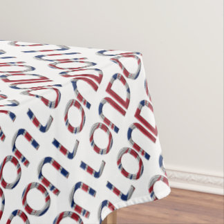 London Union Jack British Flag Typography Elegant Tablecloth