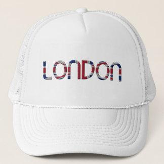 London Union Jack British Flag Typography Elegant Trucker Hat
