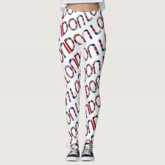 London Union Jack Flag Colors Typography Pattern Leggings