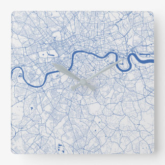 London urban Pattern Clock BLUE