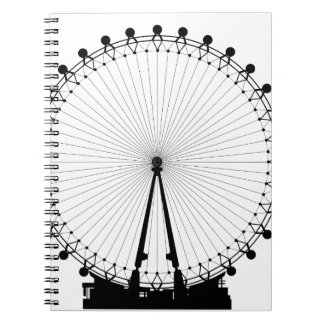 London Wheel Silhouette Spiral Notebook