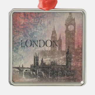 London with Parliament Red and Blue Vintage Metal Ornament