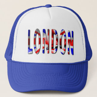 London Word With Flag Texture Trucker Hat