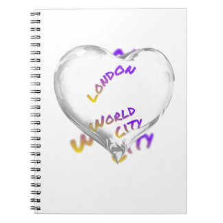 London world city, water Heart Spiral Notebook