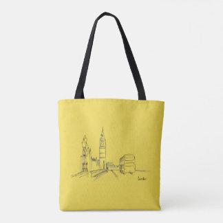 London Yellow Black Clock Tower Double Decker Tote Bag