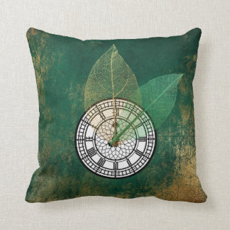 Londoner Big Ban Clock Black Tropical Gold Leaf Throw Pillow