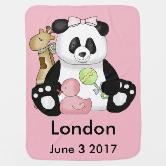London's Personalized Panda Baby Blanket