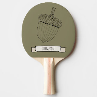 Lone Acorn Lineart Design Ping Pong Paddle