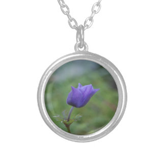 Lone Blue-Purple Anemone Silver Plated Necklace