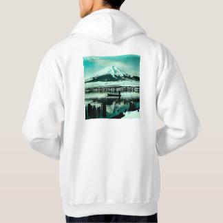Lone Boatman Beneath the Winter Shadow of Mt. Fuji Hoodie
