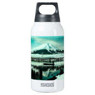 Lone Boatman Beneath the Winter Shadow of Mt. Fuji Insulated Water Bottle