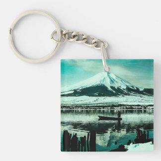 Lone Boatman Beneath the Winter Shadow of Mt. Fuji Keychain