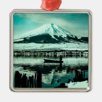 Lone Boatman Beneath the Winter Shadow of Mt. Fuji Metal Ornament