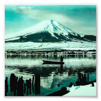 Lone Boatman Beneath the Winter Shadow of Mt. Fuji Photo Print