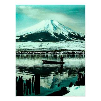 Lone Boatman Beneath the Winter Shadow of Mt. Fuji Postcard
