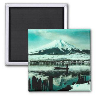 Lone Boatman Beneath the Winter Shadow of Mt. Fuji Square Magnet