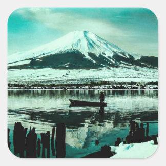 Lone Boatman Beneath the Winter Shadow of Mt. Fuji Square Sticker