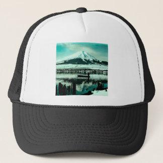 Lone Boatman Beneath the Winter Shadow of Mt. Fuji Trucker Hat