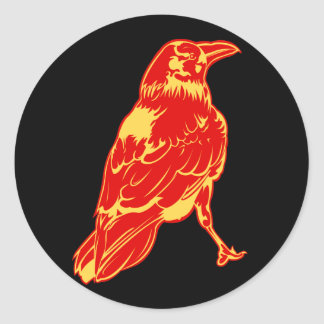 Lone Crow Illustration Classic Round Sticker