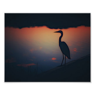 Lone Egret at daybreak Photo Print