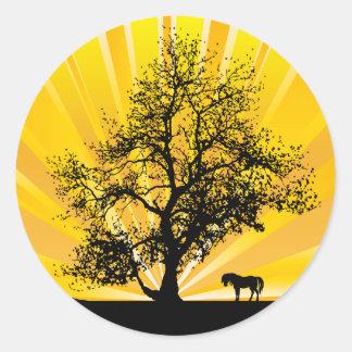 LONE HORSE AND OAK TREE CLASSIC ROUND STICKER