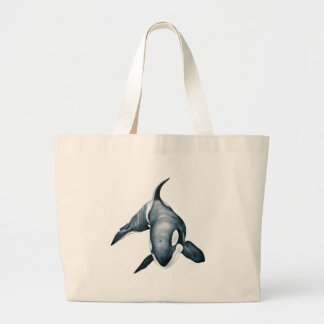Lone Orca Whale Large Tote Bag