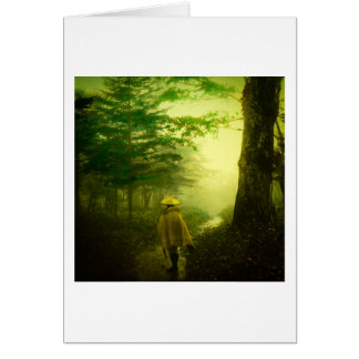 Lone Pilgrim in the Forest Road Mist Vintage Japan Card