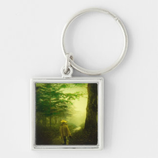 Lone Pilgrim in the Forest Road Mist Vintage Japan Keychain