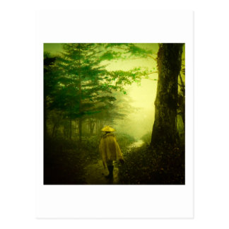 Lone Pilgrim in the Forest Road Mist Vintage Japan Postcard