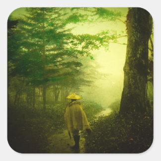 Lone Pilgrim in the Forest Road Mist Vintage Japan Square Sticker