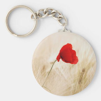 Lone Poppy Flower Basic Round Button Keychain