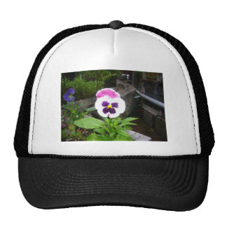Lone Purple and White Pansy Trucker Hat