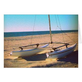 Lone Sail Boat on the Beach Card
