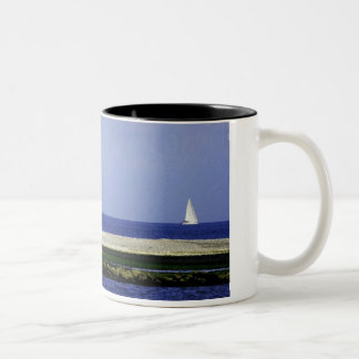 Lone Sailboat on a Blue Sea - Coffee mug