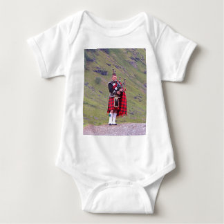 Lone Scottish bagpiper, Highlands, Scotland Baby Bodysuit