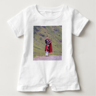 Lone Scottish bagpiper, Highlands, Scotland Baby Romper