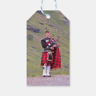 Lone Scottish bagpiper, Highlands, Scotland Gift Tags