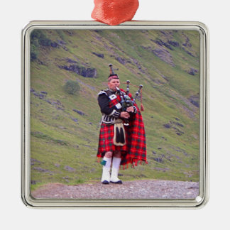 Lone Scottish bagpiper, Highlands, Scotland Metal Ornament