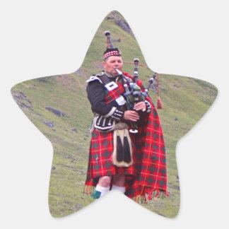 Lone Scottish bagpiper, Highlands, Scotland Star Sticker