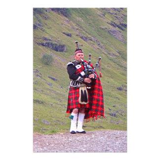 Lone Scottish bagpiper, Highlands, Scotland Stationery