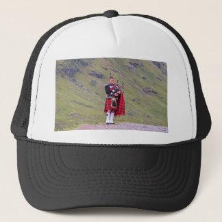 Lone Scottish bagpiper, Highlands, Scotland Trucker Hat